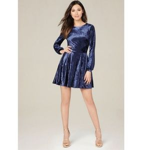 NWT Bebe Blue Crushed Velvet Flare Dress